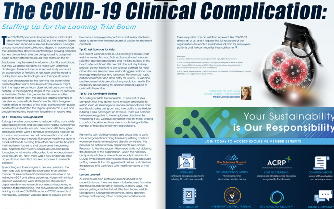 The COVID-19 Clinical Complication:  Staffing Up for the Looming Trial Boom
